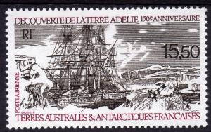FSAT 1990 Sc#C110 Discovery of Adelie Land by Dumont D'Urville SHIPS (1) MNH