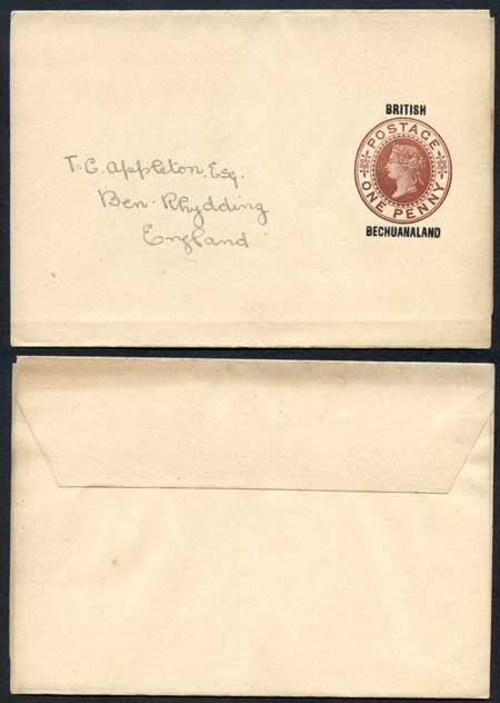 British Bechuanaland O/P on QV 1d Brown Newspaper Wrapper Mint Pre Addressed