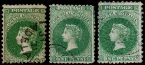 South Australia Scott 41, 42, 42h (1867) Used G-F, CV $74.00 M