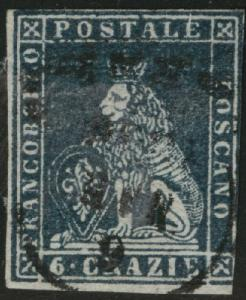 Tuscany Scott 7a blue used 1851 wmk 185  nice cancel CV$350