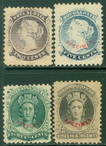 EDW1949SELL : NOVA SCOTIA 4 different values overprinted 'Specimen'
