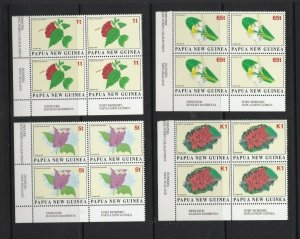 PNG393) Papua New Guinea 1996 Flowers I blocks of 4 MUH