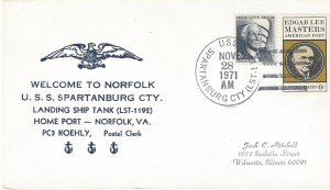 USS Spartanburg County LST 1192 US Navy Cover Welcome to Norfolk