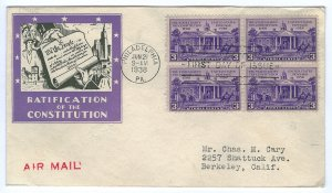 Scott 835 1938 3c Constitution First Day Cover Cat $15.00