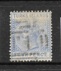 TURKS IS 1881  4d  QV  FU  SG 50