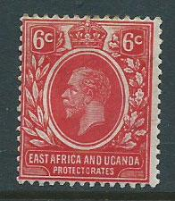 East Africa & Uganda SG 46a MH scarlet top perf with toning
