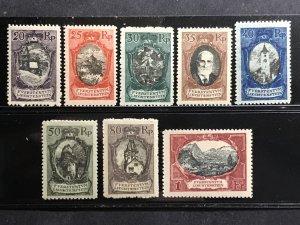 Liechtenstein 1921 20rp-1fr PICTORALS MINT #62-69 LH or HR CV$280.50 [186754]