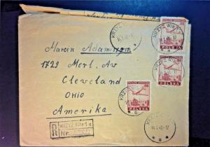 Poand 1948 Registered Airmail Cover to USA (Top Stamp Partial Off Envelope) - Z8