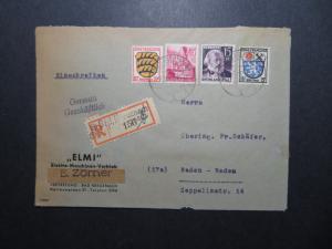 Germany 1947 Rheinland Registered Cover to Baden-Baden - Z11738