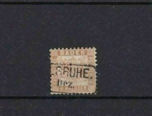BADEN 1862   9k PALE BROWN  USED STAMP CAT £48  REF 6766