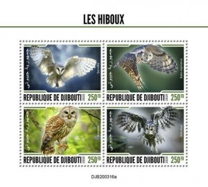 2020/06- DJIBOUTI - BIRDS  OWLS      4V MNH**