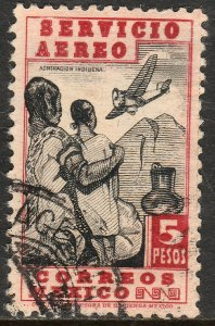 MEXICO C140, $5P 1934 Definitive. Admiring Flight. Used. F-VF. (804)