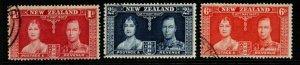 NEW ZEALAND SG599/601 1937 CORONATION FINE USED