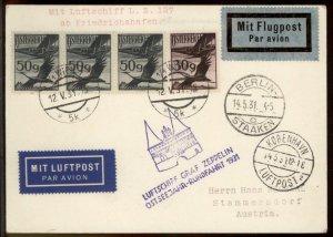 Austria 1931 Graf Zeppelin Cover Si108 Ostseerundfahrt 27 Flown Copenhagen 99548