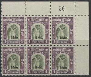 NORTH BORNEO SG323 1945 4c BRONZE-GREEN & VIOLET MNH BLOCK OF 6