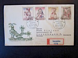 Czechoslovakia SC# 769 / 772 on 1956 FDC to Denmark - Z4873