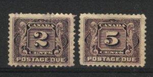Canada #J2,J4   u VF 1906 PD