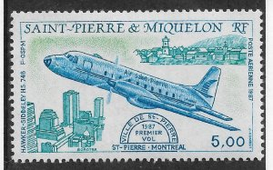 St Pierre & Miquelon 1987 Airmail,Hawker Siddeley HS 748,Scott # C61,VF MNH**