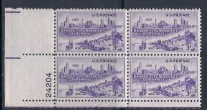 US #994 Kansas City 3c Plate Block of 4 (MNH) CV$0.50