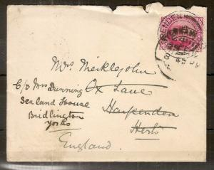 India 1912 Cover to UK
