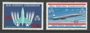 British New Hebrides 1968 Development of Concorde Scott # 130 - 131 MH