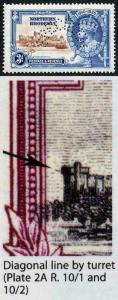 N. Rhodesia SG20f 1935 Silver Jubilee 3d Diagonal Line by Turret Perf Specimen