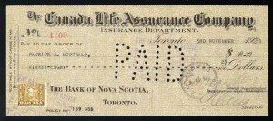 C14 Canada Life Assurance Co. bank draft, 1921, revenue stamp Van Dam #FWT8