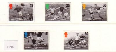 Great Britain Sc 1663-7 1996 Soccer stamp set mint NH