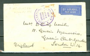 INDO-CEYLON 1936 (MULLER 8) SCARCE AIR COVER TO UK...#267x11