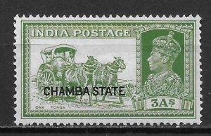 India Chamba 76 3a George VI single Unused Hinged