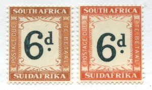 South Africa 1933 6d and 1928 6d Postage Dues mint o.g. hinged
