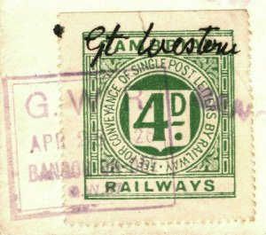 GB Wales RAILWAY LETTER Cover 1926 Bangor *Great Western* Cambrian GWR Stamp 62g