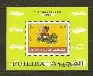 Fujeira The First Peugot 1892 Car Souvenir Sheet CTO