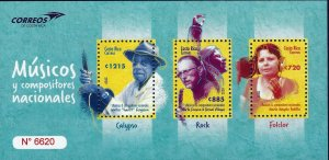 Costa Rica National Musicians and Composers,Calypso, Rock, Folklore MNH 2020 NEW