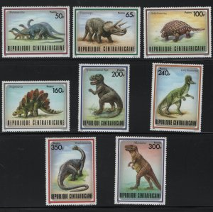 CENTRAL AFRICAN REPUBLIC 872-879 MNH DINOSAURS SET 1988