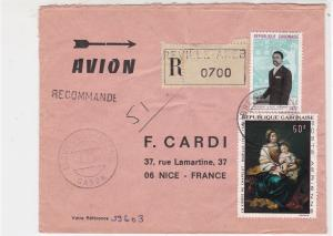 Rep Gambonaise 1969 Regd Airmail Libreville-Akebe Cancels Stamps Cover Ref 30669