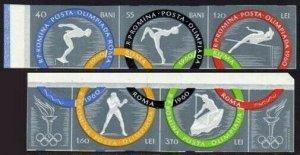Romania 1326-1330a imperf,MNH. Olympics Rome-1960:Swimming,Jump,Boxing,Canoe,