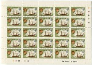 ANTIGUA #243 Thomas Warner Arms & Ship British Commonwealth Sheet Stamp Postage