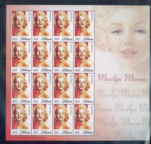 MARLYN MONROE Mini Sheet of 16 MNH - LIBERIA E40