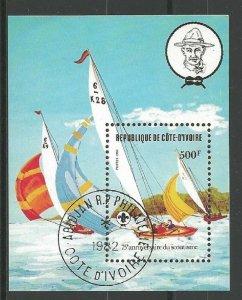 1982 Ivory Coast Sea Scouts 75th anniversary sailing SS CTO FD