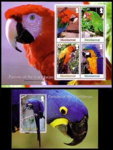 Montserrat Birds Parrots Sheetlet 4v+MS SG#1377-1381