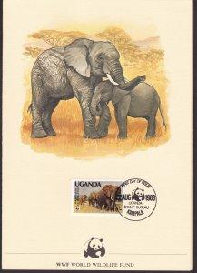 Uganda, Fauna, Animals, WWF card  / 1983