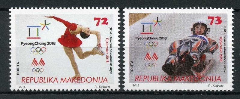 Macedonia 2018 MNH Winter Olympics PyeongChang 2018 2v Set Bobsleigh Stamps