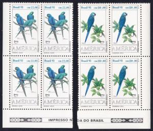 Brazil Birds Endangered Macaws 2v Bottom Left Corner Block of 4 SG#2599-2600