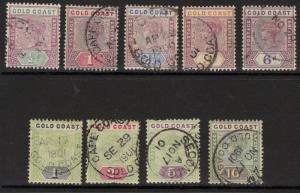 GOLD COAST SG26/34(Exc27b) 1898-902 DEFINITIVE SET USED