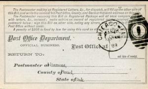 US REGISTRY BILL ALTAMONT, DAKOTA TERRITORY 1/24/89 TO CHICAGO, IL 1/28 RARE