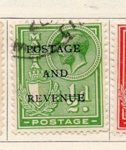 Malta 1928 Early Issue Fine Used 1/2d. Optd 159321