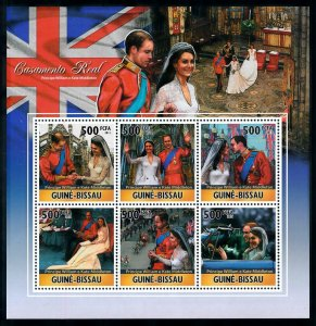 Guinea-Bissau MNH S/S Prince William & Kate Royal Wedding 2011 6 Stamps