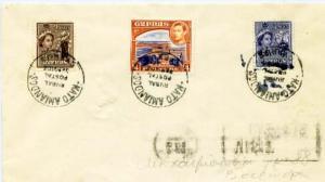 Cyprus 1/4pi KGVI Vouni Palace, 2m QEII Carobs and 3m QEII Grapes 1959 Kato A...