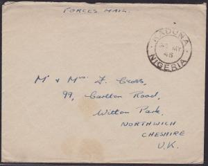 NIGERIA 1946 FORCES MAIL cover sent free to UK - KADUNA cds.................1498